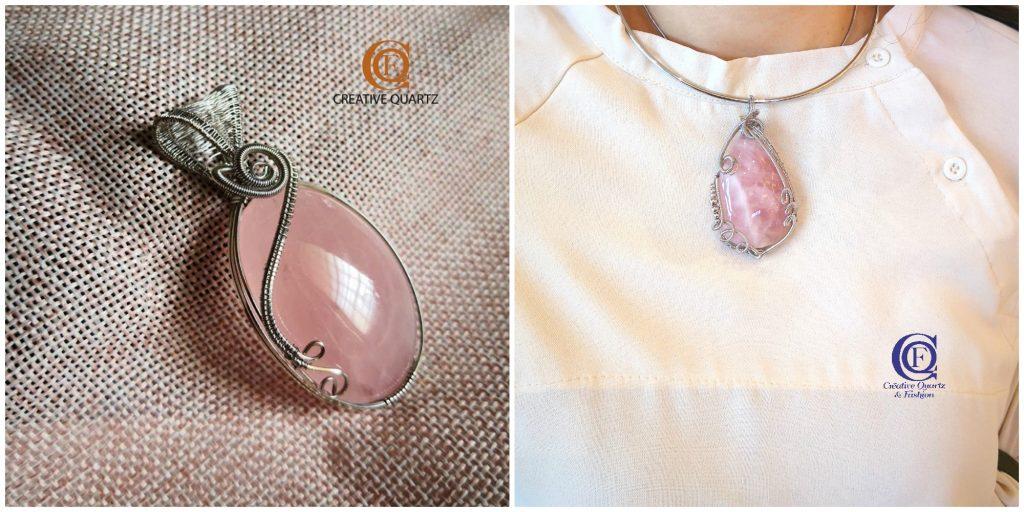 粉晶 Rose Quartz 粉晶所散发的温和能量,是人缘的最佳辅助品。佩戴粉晶,会让人留下深刻印象和好感,也会得到顾客的认可,使人际关系更圆润。常常需要与人打交道的行业,如销售、服务行业或主持可佩戴粉晶,借助粉晶能量广结人缘,进而对自己的事业有所帮助。 Creative Quartz & Fashion精细的做工和独特的设计,更突显个人魅力。